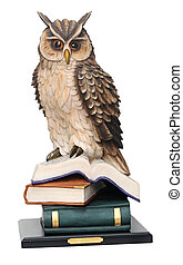 plaster statuette of an owl isolated on white background....