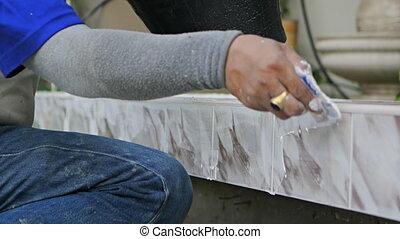 Plaster tile surface - The plasterer plaster tile surface