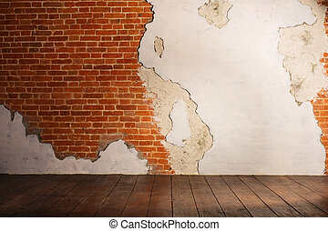 plastered brick wall and wood interior background texture