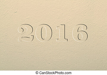Plastered uneven surface and painted. New year 2016.Texture,...