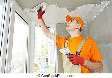 Plasterer at indoor ceiling work - Plasterer at indoor ...