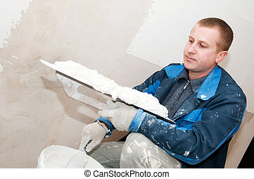 Plasterer at work