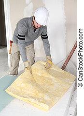 plasterer, gør, reparation, ind, hus