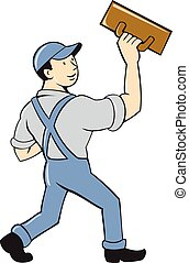Illustration of a plasterer masonry tradesman construction worker standing with trowel looking to the side viewed from rear set on isolated white background done in cartoon style.