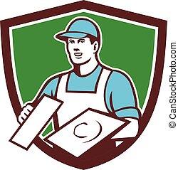 Plasterer Masonry Trowel Crest Retro - Illustration of a...