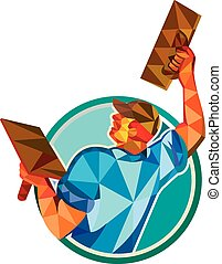 Low polygon style illustration of a plasterer masonry tradesman construction worker raising up trowel over head viewed from the back set inside circle done on isolated background