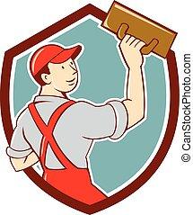 Plasterer Masonry Trowel Shield Cartoon - Illustration of a...