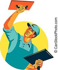 Plasterer Masonry Trowel WPA - WPA style illustration of a...