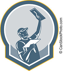 Illustration of a plasterer masonry tradesman construction worker with trowel done in retro style on isolated background