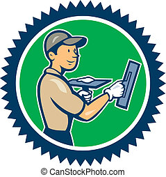 Illustration of a plasterer masonry tradesman construction worker standing with trowel looking to the side set inside rosette shape on isolated background done in cartoon style.