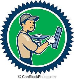 Plasterer Masonry Worker Rosette Cartoon - Illustration of a...