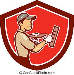Plasterer Masonry Worker Shield Cartoon - Illustration of a...