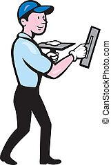 Plasterer Masonry Worker Trowel Cartoon - Illustration of a...