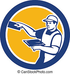 Illustration of a plasterer masonry tradesman construction worker with trowel set inside circle done in retro style on isolated background
