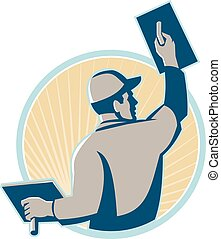 plasterer worker trowel rear vector
