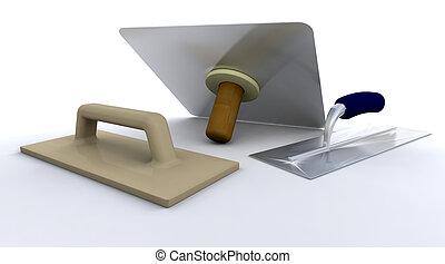 3D render of plasterers tools