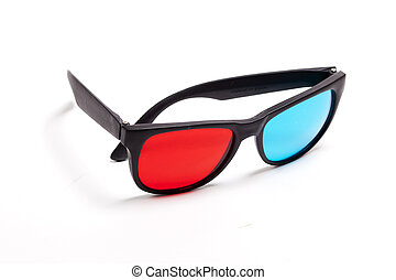 plastic 3D glasses over white