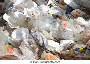 plastic and foam garbage, pollution of environment