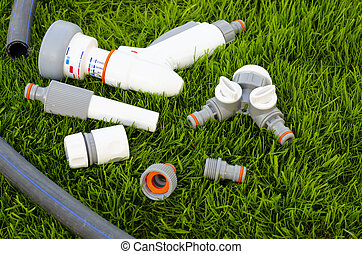 Plastic and hose for automatic watering the garden