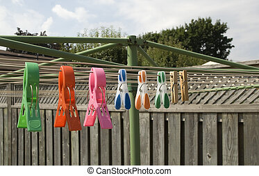 plastic and wooden clothespins