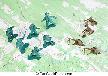 Plastic Army Men Fighting on Topographic Map General's View...