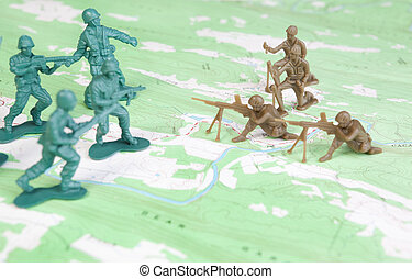 Plastic Army Men Fighting on Topographic Map Two Armies...