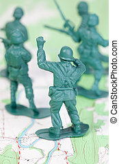 Plastic Army Men Fighting Topographic Map Leader Urging Team