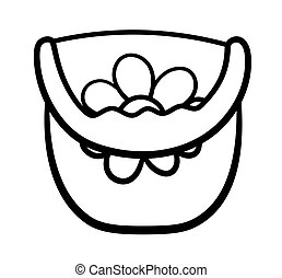 Plastic baby bucket with a handle and flower drawing in black lines on white backgound