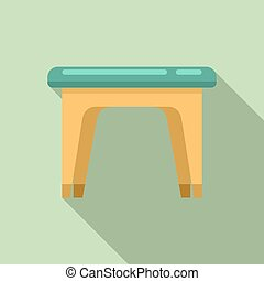 Plastic backless chair icon. Flat illustration of plastic backless chair icon for web design