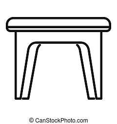 Plastic backless chair icon. Outline plastic backless chair icon for web design isolated on white background