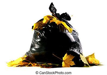 Plastic bag - Autumn maple leaves against a full black ...
