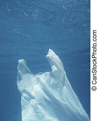 Plastic bag floating into the water. Polluted enviromental....