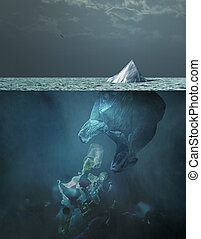 Plastic bag iceberg floating in the ocean and global warming concept