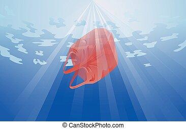 Plastic bag in the ocean vector