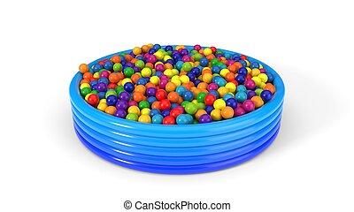 plastic balls filled child pool. 3d illustration