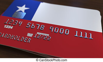 Plastic bank card featuring flag of Chile. Chilean banking system conceptual 3D rendering