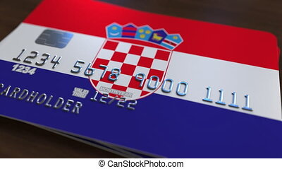 Plastic bank card featuring flag of Croatia. National...