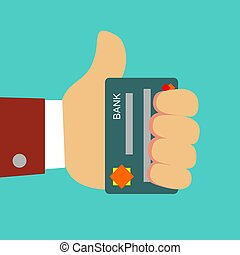 Plastic bank cards in hand of businessman.