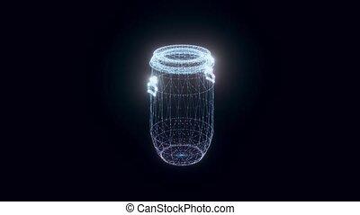Plastic Barrel hologram Rotating. High quality 4k footage