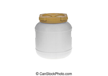 Plastic Barrel with cover.