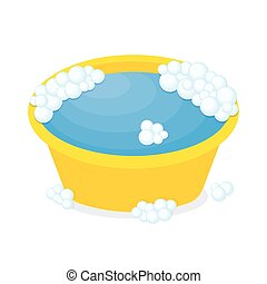 plastic basin with soap suds. Orange bowl with water. Washing clothes. Vector illustration in flat style