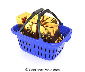 Plastic basket and gold bullion isolated on a white background. Gold and currency reserves. 3d illustration.