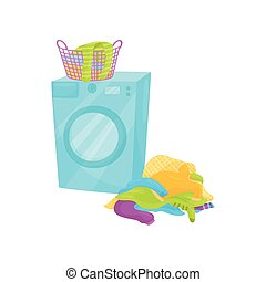 Plastic basket full of clean clothes on washing machine and pile of dirty laundry on the floor. Flat vector design