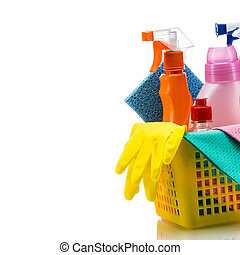 Plastic basket with cleaning supplies, isolated on white background