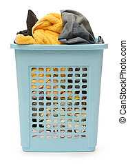 Plastic basket with clothes - Blue plastic basket full of ...