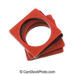 Plastic bicolor square bracelets - Four plastic bicolor...