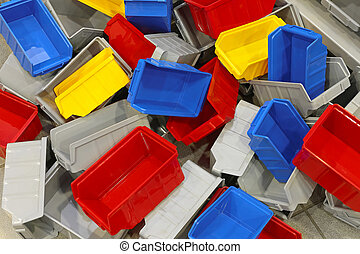 Plastic bins and tubs - Big bunch of colorful plastic ...