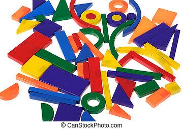 plastic blocks, geometrical figures