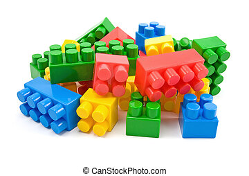 plastic blocks on white background