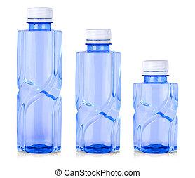 Plastic blue bottle isolated on white background.